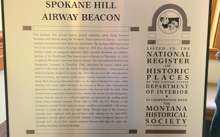 Spokane Hills Airway Beacon Plaque